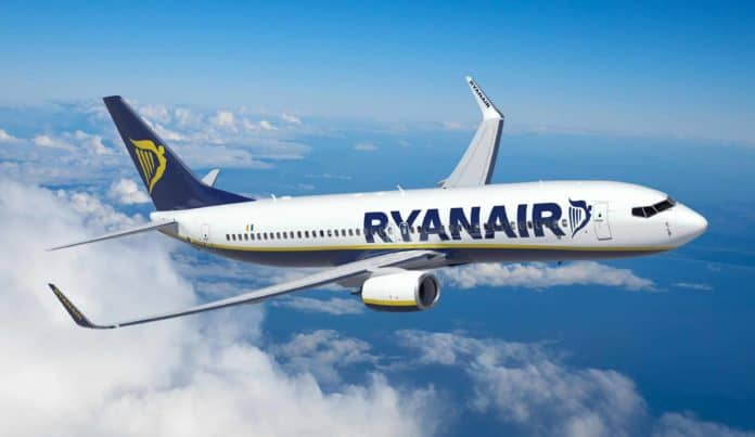 Corporate Ryan Air Plane in the Sky