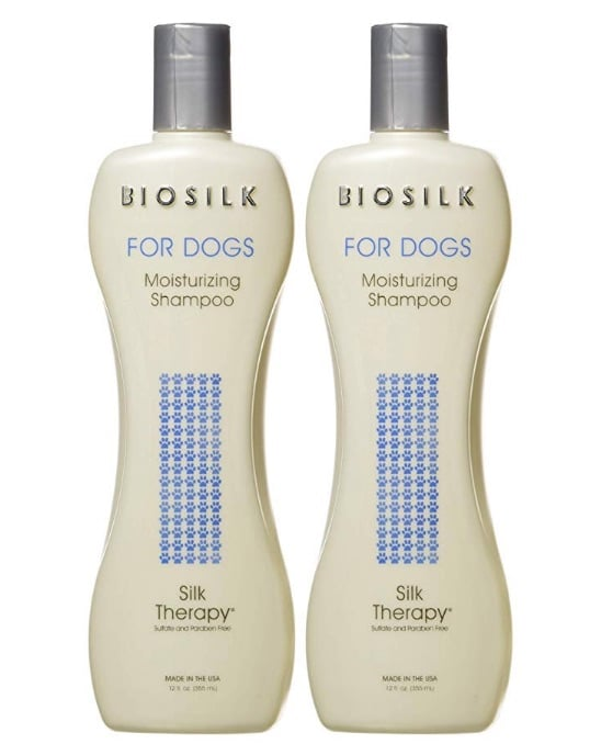 Biosilk moisturizing dog shampoo, available on Amazon