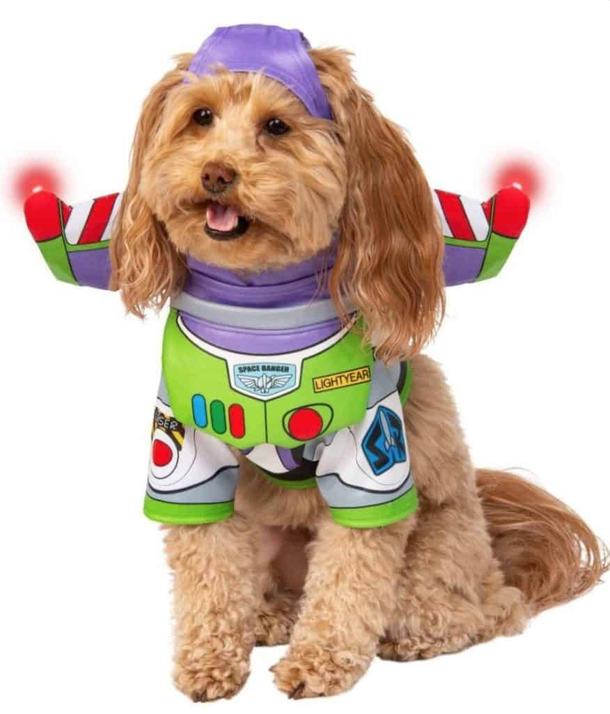 Buzz Lightyear superhero dog costume, available on Baxterboo