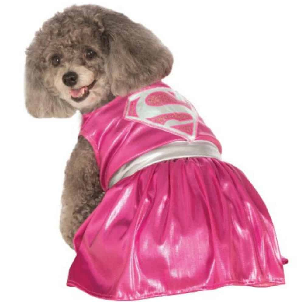 Marvel Pink Supergirl dog superhero costume, available on Baxterboo