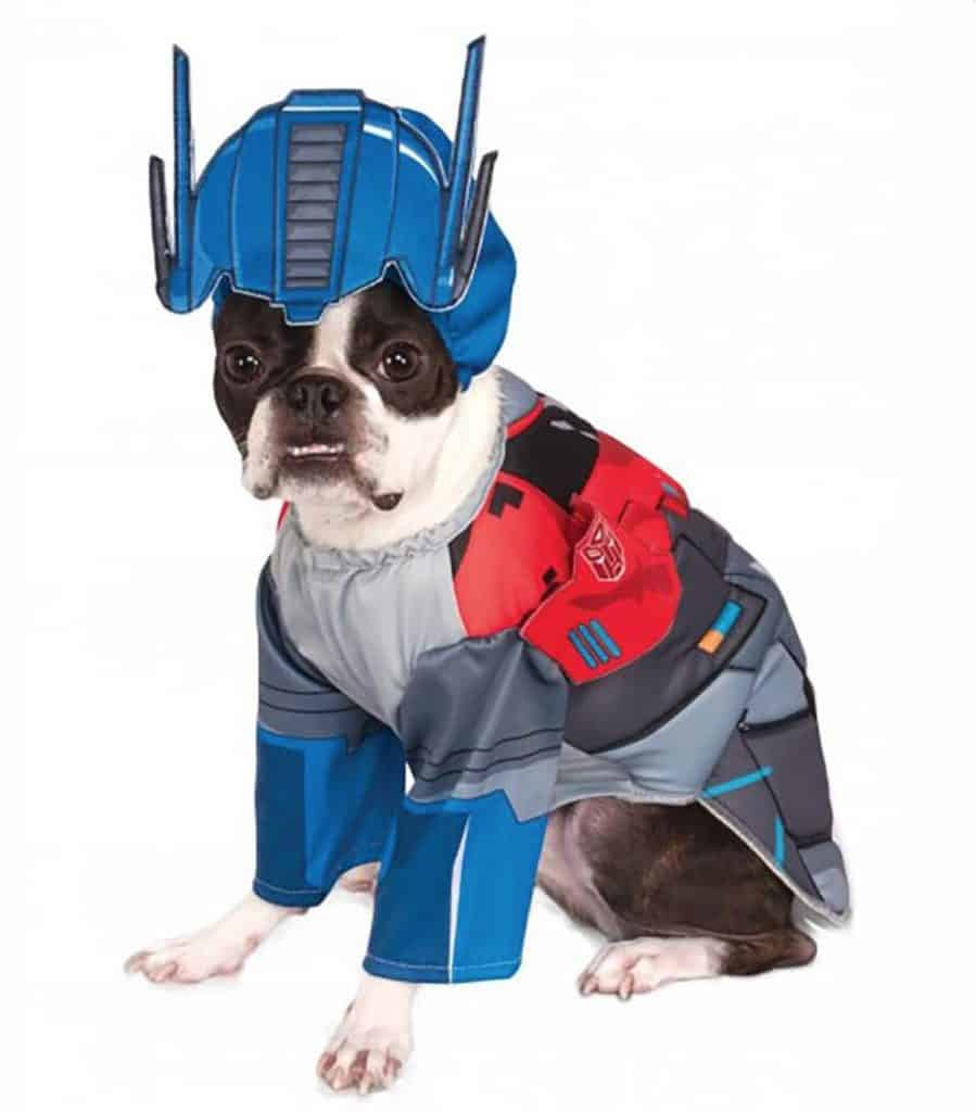 Marvel Optimus Prime superhero dog costume, available on Baxterboo