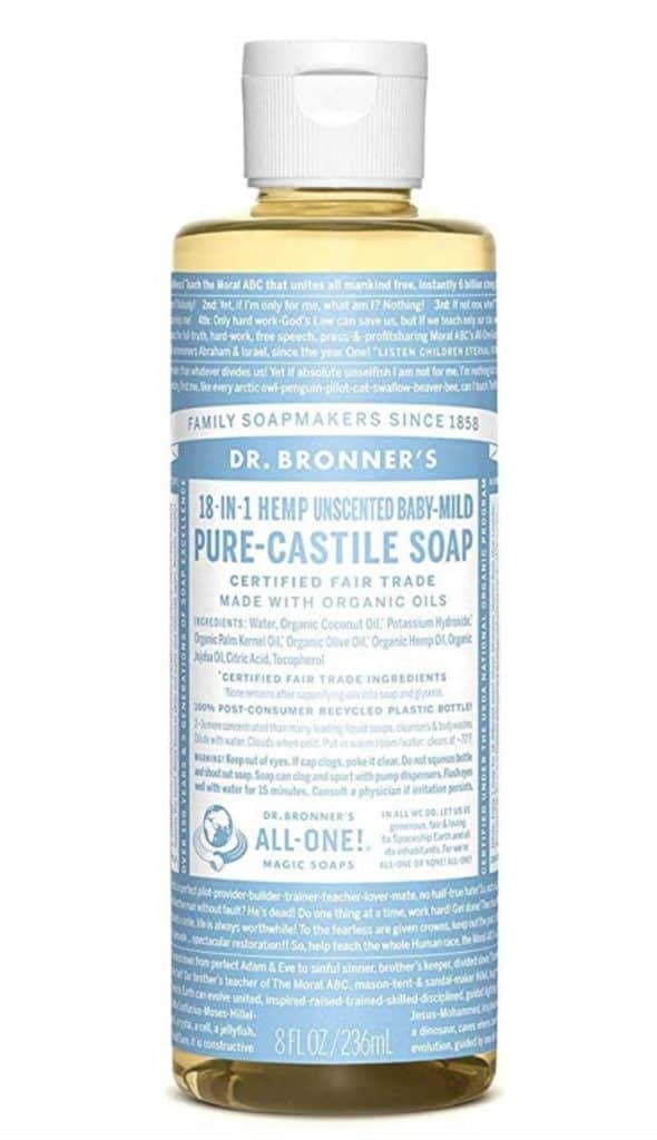 Dr. Bronner's unscented baby mild castille soap, available on Amazon