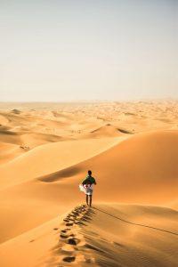 homme qui marche avec un drapeau algérien sur une dune