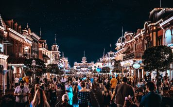 disney main street at night