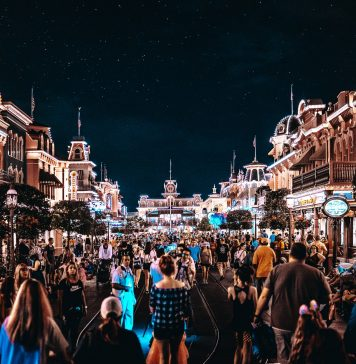 disney main street at night